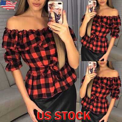 Women's Long Sleeve Off-The-Shoulder Casual Blouse Shirt Plaid Check Autumn Tops
