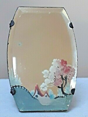 Small vintage mirror with painted country scene