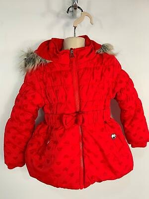 Girls George Grey&Pink Flower Padded Hood Winter Rain Coat Kids Age 18/24 Months