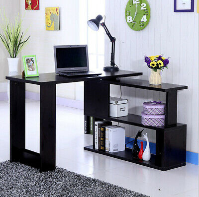 Modern Corner Computer Desk Home Office L-Shaped Study Gaming Table With Shelves
