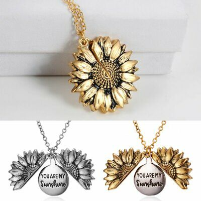 Fashion You Are My Sunshine Open Sunflower Pendant Necklace Women Christmas Gift