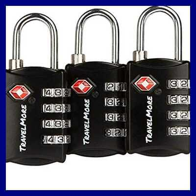 3 Pack TSA Luggage Locks W 4 Digit Combination Heavy Duty Set Your Own One Size