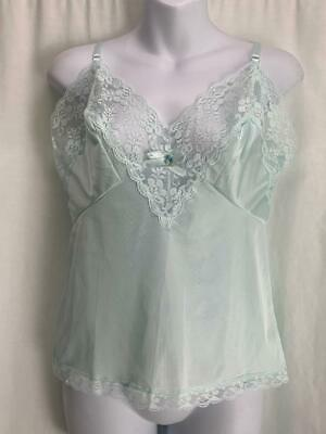 """Vintage Womens Camisole Pastel Green with Lace Trim 34"""" Bust EUC"""
