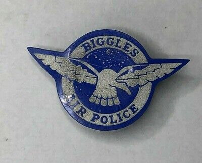 1960 Biggles Air Police Pin Badge Children's Comic Book Hero Cereal Packet item