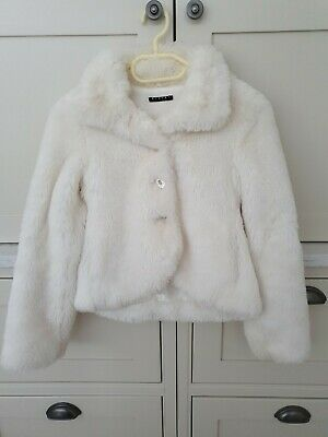 Sisley faux fur lined girls buttoned jacket for girls  age 9-10 years