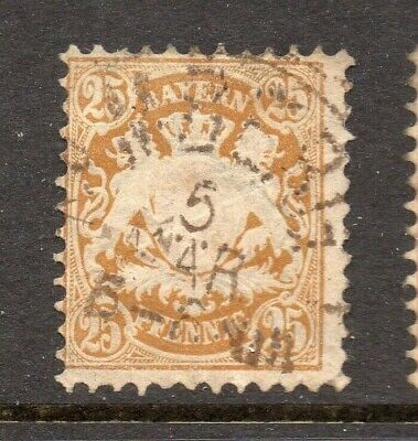 Bavaria Bayern 1876 Early Issue Fine Used 25pf. NW-15331