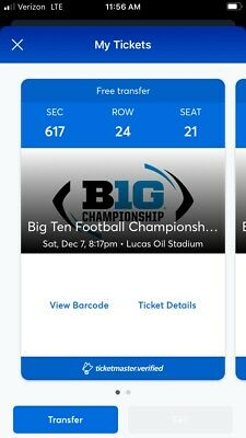 2019 Big Ten Championship Game Tickets - 2 Tickets - Section 617 - Row 24