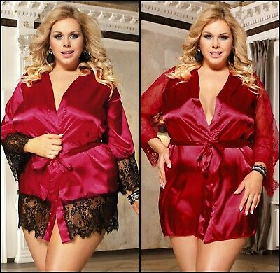 Valentines 2 Types,Lady Red Lace/Satin Dressing Gown/Robe Lingerie Size 12-20 Uk