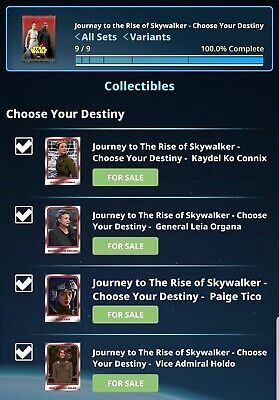 Topps Star Wars Card Trader Journey to the RoS W2 Choose your Destiny Set Digi