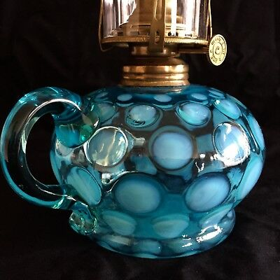Antique Blue / Teal Blue Opalescent Glass Coin Dot Oil Lamp. Circa 1880.