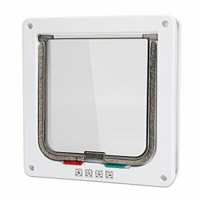 """Depets Medium Cat Flap Door with 4 Way Lock (Outer Size 7.5"""" x 7.8""""), Magnetic"""