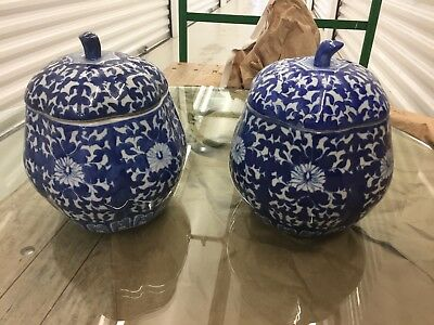 Pair Chinese Blue and White porcelain covered vases/bowls