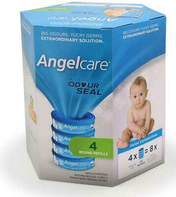 Angelcare 4 pack Baby Nappy Diaper Disposal Cassette Refill for Disposal Bin