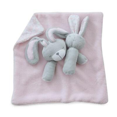 Bubba Blue Security Blanket & Rattle Set (Bunny Hop) Free Shipping!