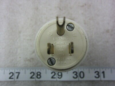 Bryant 15A 125V Hubbell 5266 Style Straight Blade Plug 5-15P, Used