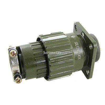 H● 1Pc Y2M-14TK AC 500V Gold Plated 14 Pin Army Green Circular Connector.