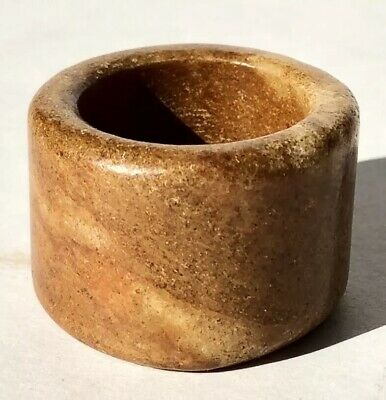 Nice Antique Old Chinese Brown Nephrite Jade Carved Archers Ring