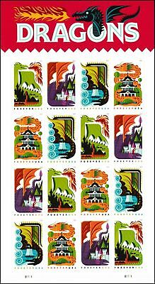 US SCOTT 5307 - 5310b DRAGONS 16 STAMPS FOREVER MNH