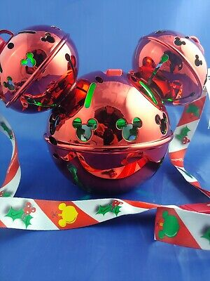 NEW Disney Parks 2019 Christmas Mickey Ornament Jingle Bells Candy Cane Sipper