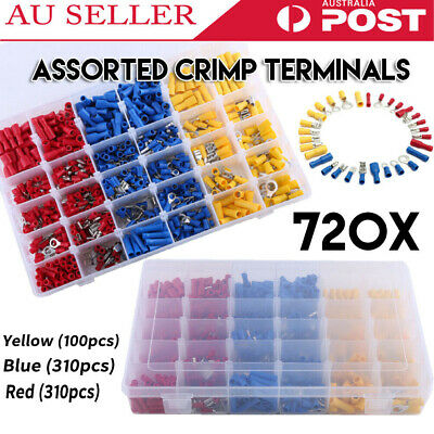 720pcs Electrical Wire Connector Assorted Insulated Crimp Terminals Spade Kit AU