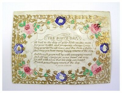 Antique 19th century embossed paper & scrap greeting card The Birthday W Smith