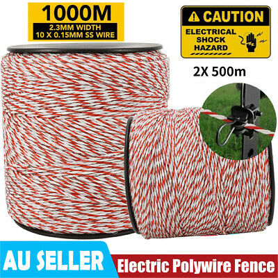 1000m 2.3mm Roll Polywire Electric Fence Fencing Stainless Poly Wire Insulator
