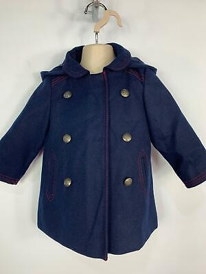 Bnwt Girls Next Blue Winter Smart Hooded Over Coat Jacket Kids Age 1.5/2 Years