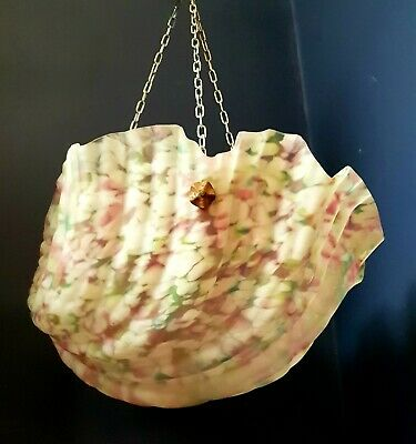 Art Deco 1930s marbled shell effect glass pendant ceiling light shade flycatcher
