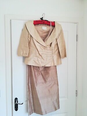 Watters & Watters Dupioni Silk 2 Piece Dress & Jacket - Size 14 cruise wear