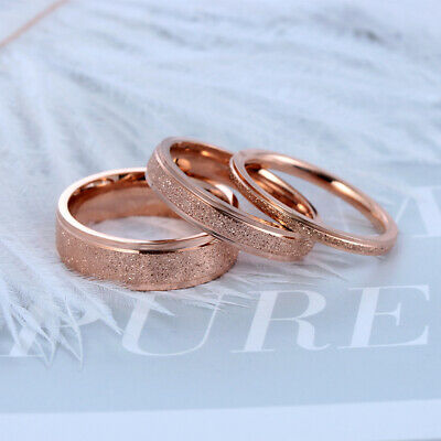 Mens Women Rose Gold/Silver Finger Ring Stainless Steel Frosted Scrub Rings