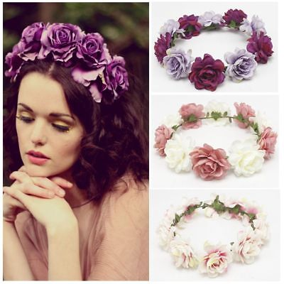 Beauty Girl Floral Crown Rose Flower Headband Wedding Hair Garland Hairband UK