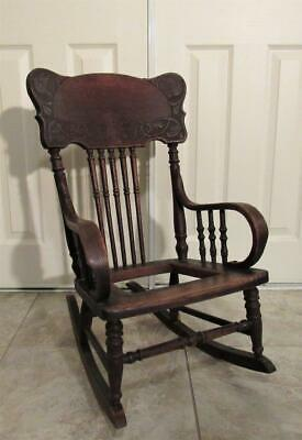 Victorian carved birds oak wood child`s rocking chair antique 1890s pick up only