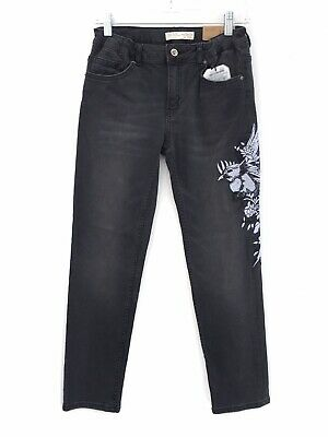Zara Girls Faded Black Embroidered Bird Floral Straight Jeans 13/14 Slim NEW