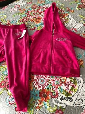 Juicy Couture Girls 2 Piece  Velour Hoodie & Pants Hot Pink Size 4