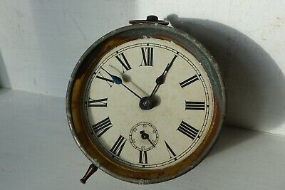 Vintage Clock Movement 4in Dia Hour/Seconds Dials Roman Numerals Working