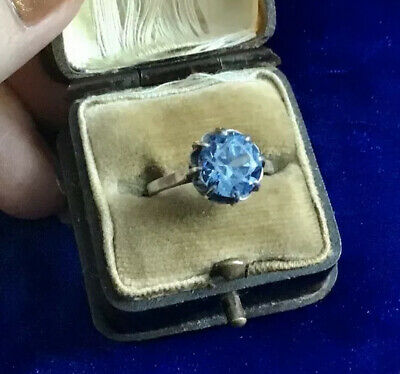 French Antique Art Deco Real Silver & Real Blue Zircon Set Ring