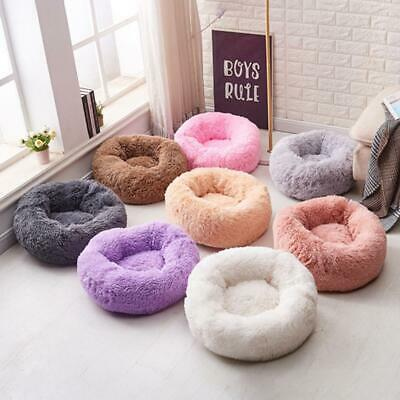 Pet Calming Soft Bed Round Nest Faux Fur Donut Cat Dog Beds Self Warming Sofa US