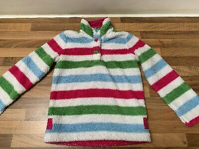 Girls Joules Fleece Striped Top Jumper  Age 8 Years Excellent Used Condition