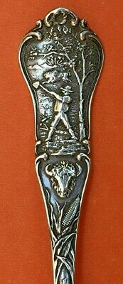 "By Gorham Fancy 5-5/8"" Long  Indiana State Sterling Silver Souvenir Spoon"