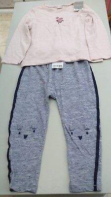Next girls long tee shirt and jogging bottoms age 2-3 years