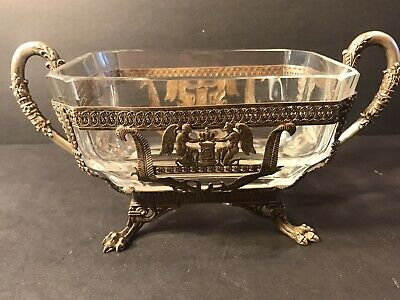 Antique French Empire Crystal & Bronze Bowl/ France C.1840/ Jardiniere/ Napoleon