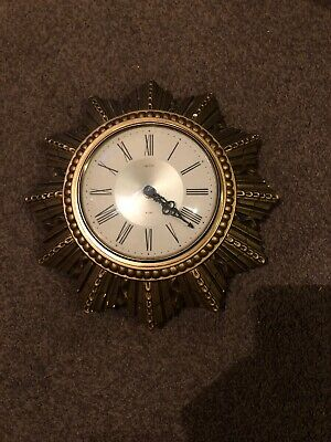 Antique/Vintage Smiths 8 Day Wind Up Wall Clock, Sunburst.