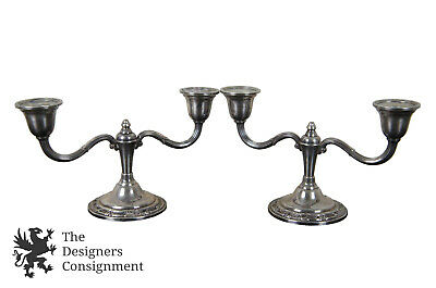 2 Antique Wild Rose Int'l Weighted Sterling Silver Candelabras Candle Holder 925
