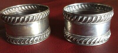 Pair Gadroon Edge Sterling Silver Napkin Rings Serviette Holders By Gorham