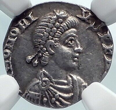 HONORIUS Authentic Ancient 402AD Milan Genuine Silver Roman Coin ROMA NGC i81835
