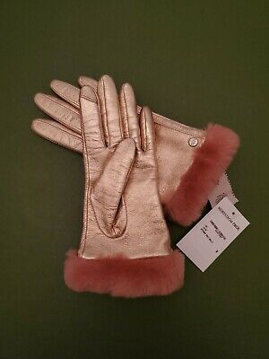 New UGG Trim Tech Touchscreen Shearling Leather Gloves Rose Gold Pink $110