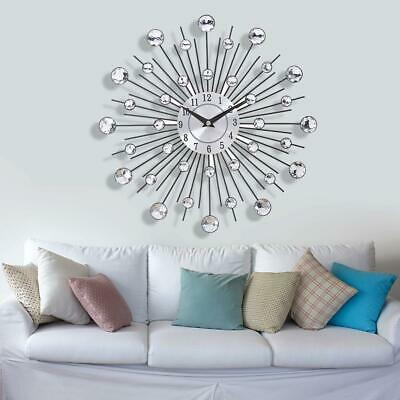 33Cm Silver Diamante Beaded Jeweled Round Sunburst Metal Wall Clock Home Decor