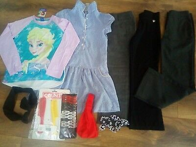 Girls uniform + hair accessories & Frozen Elsa top 7-8 years MOSTLY NEW