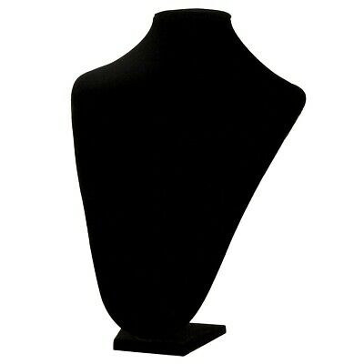 """New 13"""" Tall Black Velvet Pendant Jewelry Neck Display Bust Form Necklace Stand"""