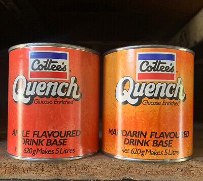 SET OF 2 X COTTEE'S QUENCH Drink Base Cordial Tins NOS